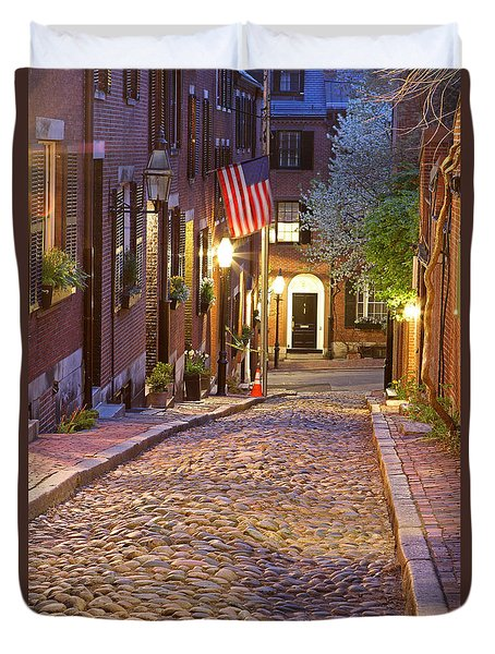 Acorn Street Of Beacon Hill Duvet Cover by Juergen Roth