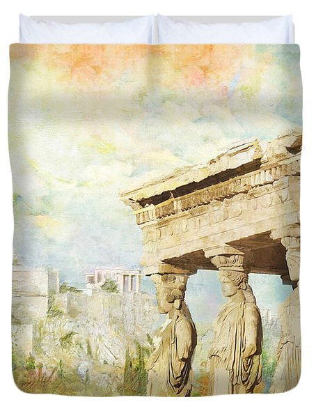 Acropolis of Athens Duvet Cover by Catf
