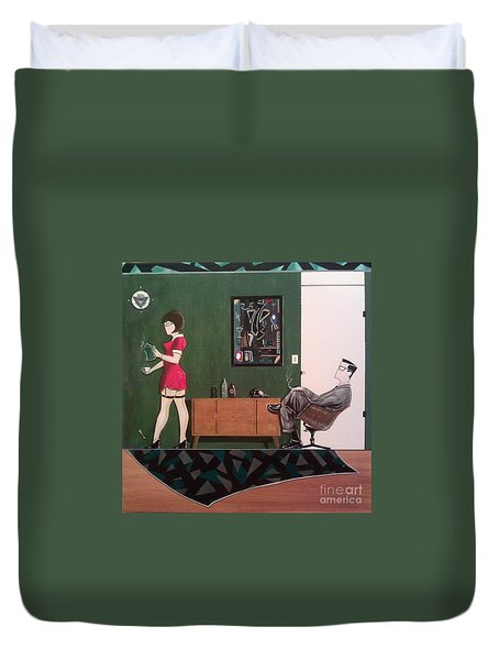 Ad Man Sitting In Chair Steadily Watching Coffee Girl Duvet Cover by John Lyes