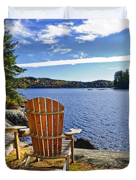 Adirondack chairs at lake shore Duvet Cover by Elena Elisseeva