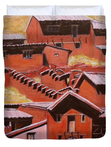 Adobe Village - Peru Impression II Duvet Cover by Xueling Zou