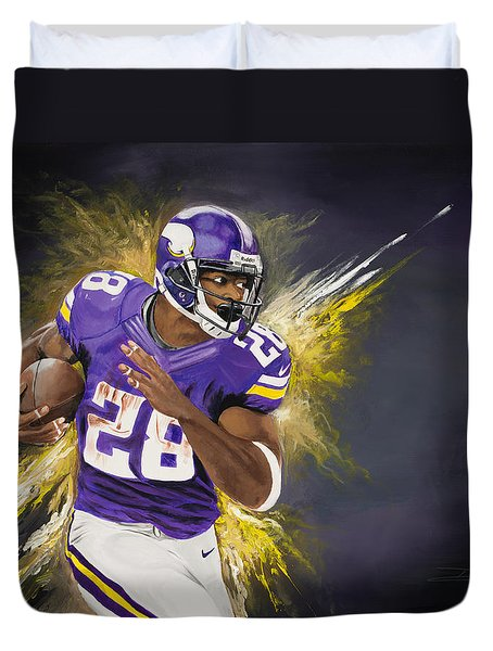Adrian Peterson Duvet Cover by Don Medina