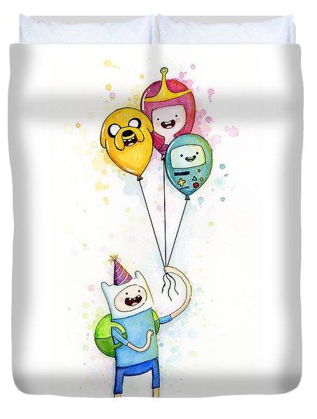Adventure Time Finn With Birthday Balloons Jake Princess Bubblegum Bmo Duvet Cover by Olga Shvartsur
