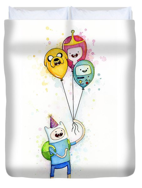 Adventure Time Finn With Birthday Balloons Jake Princess Bubblegum Bmo Duvet Cover by Olga Shvartsur
