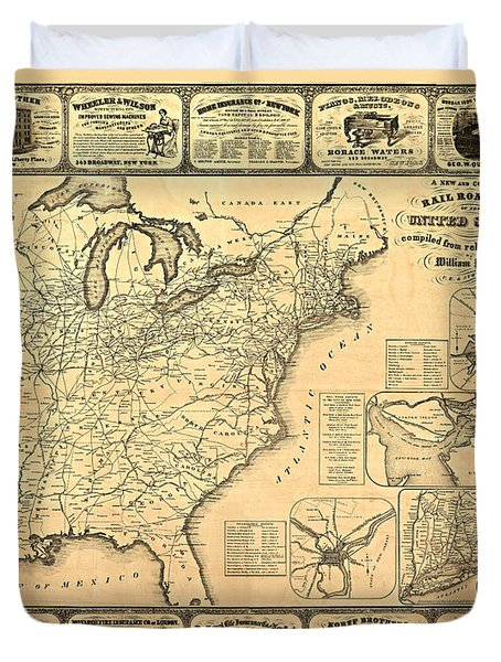 Advertising Map Duvet Cover by Gary Grayson