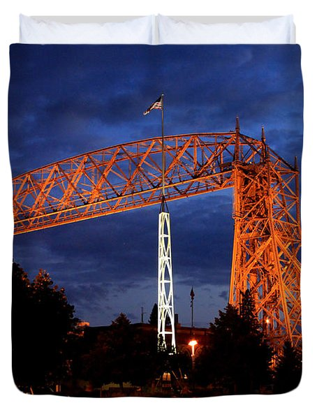 Aerial Lift Bridge Duvet Cover by Lori Tordsen