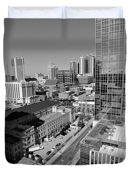 Aerial Photography Downtown Nashville Duvet Cover by Dan Sproul
