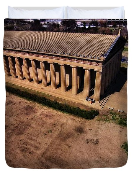 Aerial Photography Of The Parthenon Duvet Cover by Dan Sproul