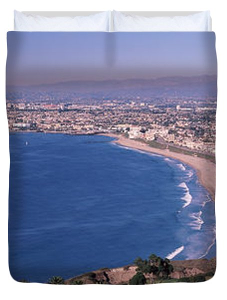 Aerial View Of A City At Coast, Santa Duvet Cover by Panoramic Images