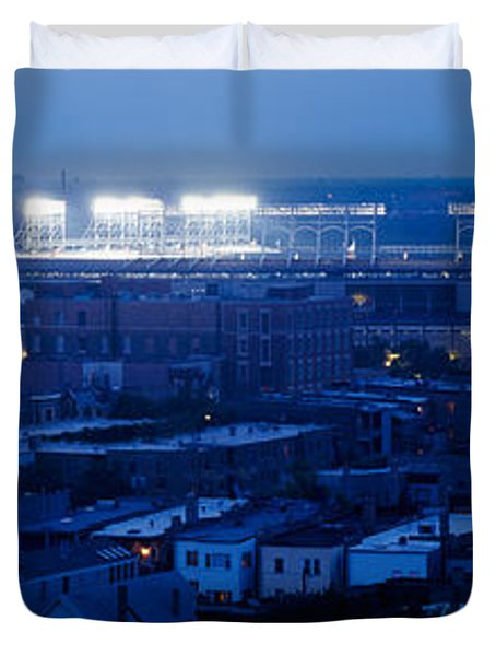 Aerial View Of A City, Wrigley Field Duvet Cover by Panoramic Images