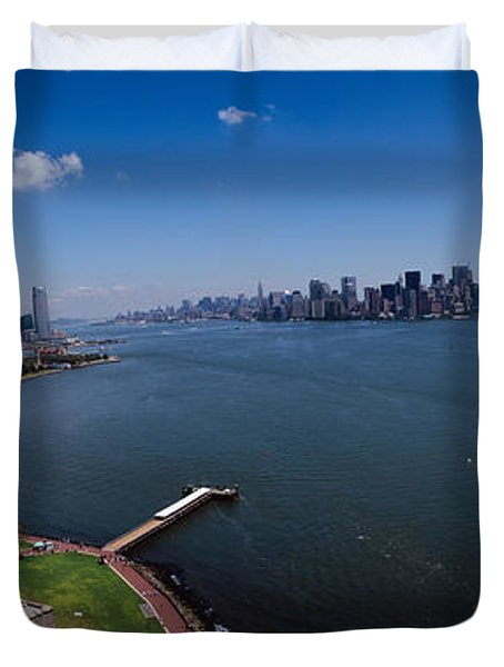 Aerial View Of A Statue, Statue Duvet Cover by Panoramic Images