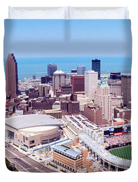 Aerial View Of Jacobs Field, Cleveland Duvet Cover by Panoramic Images