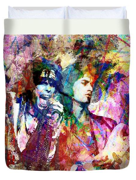 Aerosmith Original Painting Duvet Cover by Ryan Rock Artist