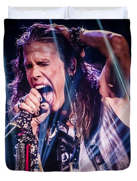 Aerosmith Steven Tyler Singing In Concert Duvet Cover by Jani Bryson