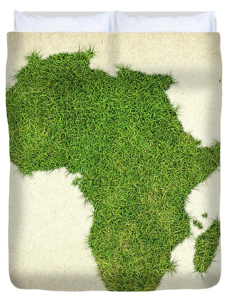 Africa Grass Map Duvet Cover by Aged Pixel