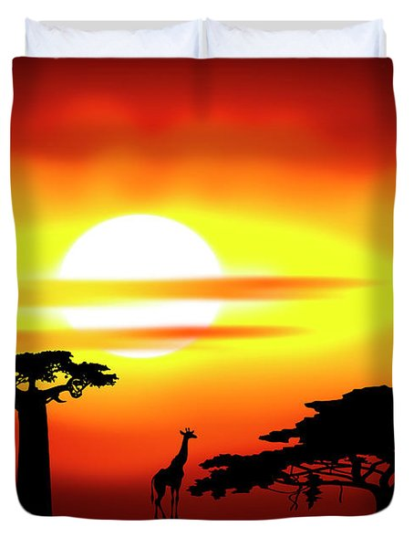 Africa sunset Duvet Cover by Michal Boubin