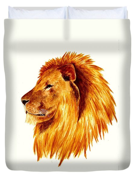 African Male Lion Duvet Cover by Michael Vigliotti