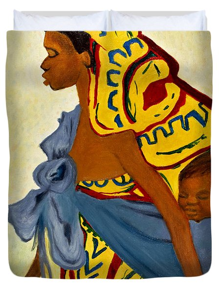 African Mother and Child Duvet Cover by Sher Nasser