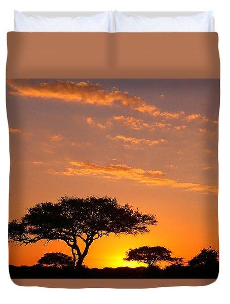 African Sunset Duvet Cover by Sebastian Musial
