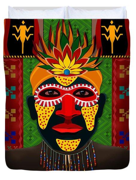 African Tribesman 1 Duvet Cover by Bedros Awak