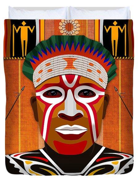 African Tribesman 3 Duvet Cover by Bedros Awak