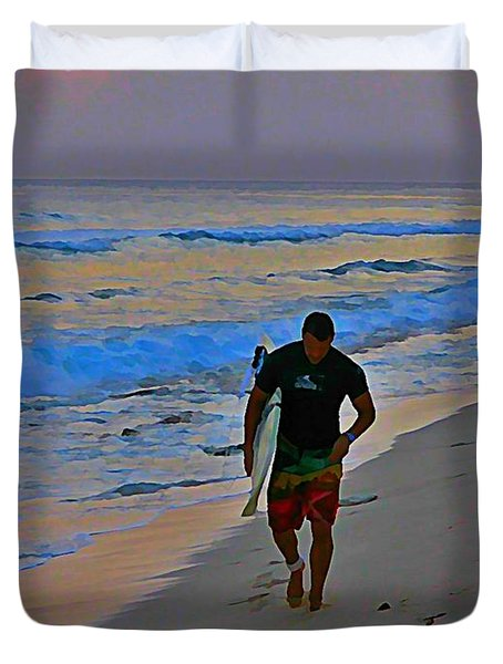 After A Long Day Of Surfing Duvet Cover by John Malone