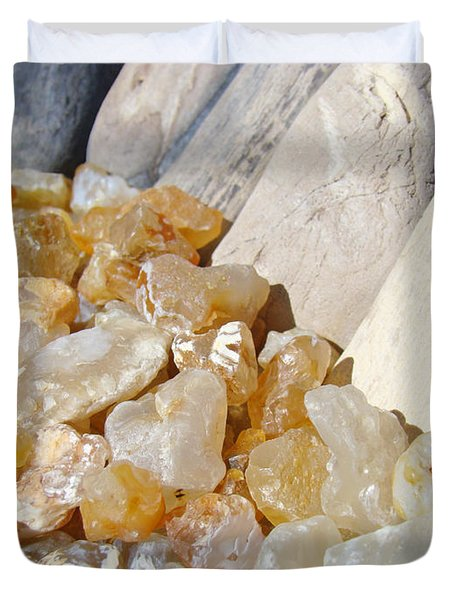 Agate Rocks Beach Art Prints Agates Duvet Cover by Baslee Troutman