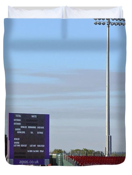 Ageas Bowl Score Board And Floodlights Southampton Duvet Cover by Terri Waters