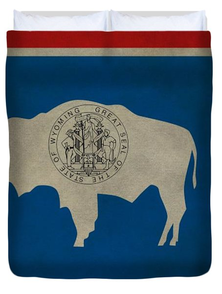 Aged Wyoming State Flag Duvet Cover by Dan Sproul