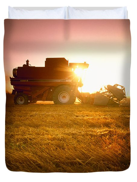 Agriculture - A Combine Harvests Wheat Duvet Cover by Mirek Weichsel
