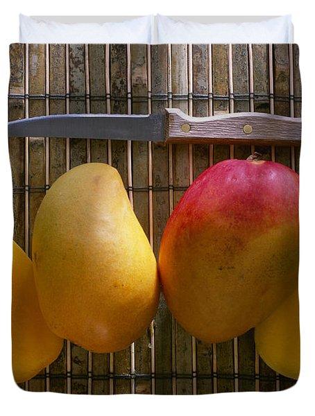 Agriculture - Sliced Sunrise Mango Duvet Cover by Daniel Hurst