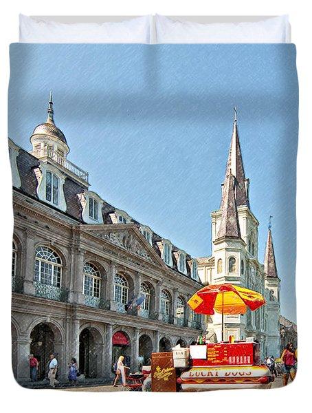 Ahh...New Orleans sketch Duvet Cover by Steve Harrington