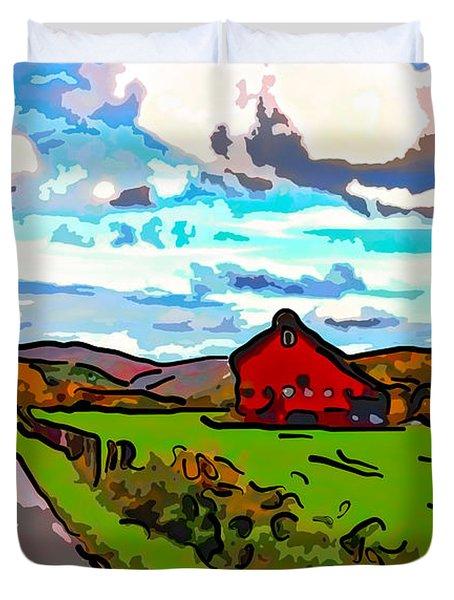 Ah...West Virginia line art Duvet Cover by Steve Harrington
