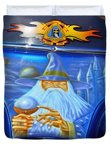 Airbrush Magic - Wizard Merlin On A Motorcycle Duvet Cover by Christine Till