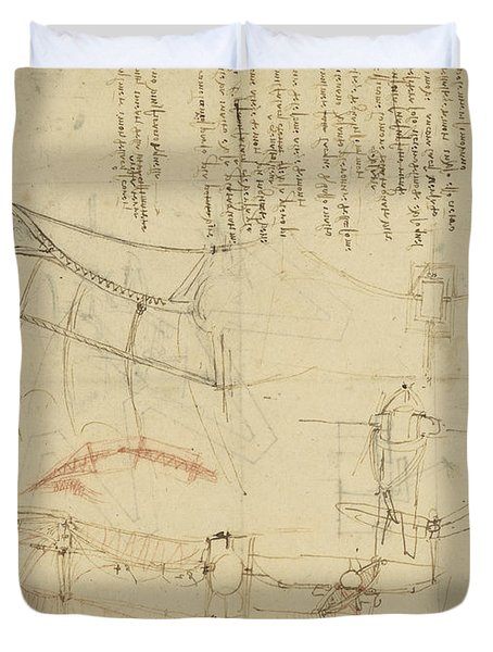 Aircraft The Machine Has Been Reduced To The Simplest Shape Duvet Cover by Leonardo Da Vinci