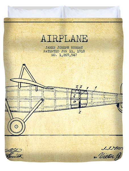 Airplane Patent Drawing From 1918 - Vintage Duvet Cover by Aged Pixel