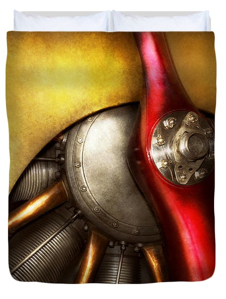 Airplane - Prop - Fine Lines Duvet Cover by Mike Savad
