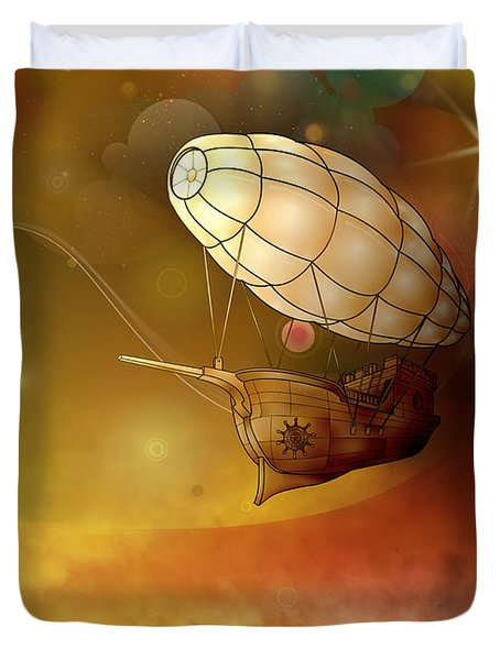 Airship Ethereal Journey Duvet Cover by Bedros Awak