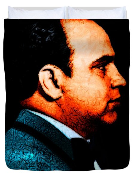 Al Capone c28169 - Black - Painterly - Text Duvet Cover by Wingsdomain Art and Photography