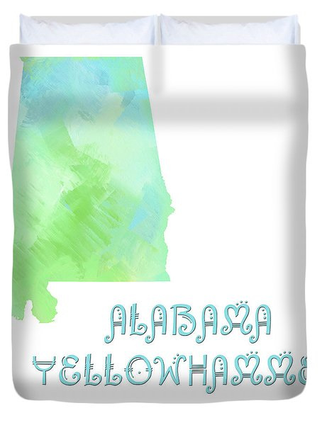 Alabama - Yellowhammer State - Map - State Phrase - Geology Duvet Cover by Andee Design