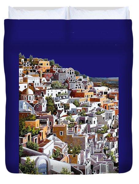 alba a Santorini Duvet Cover by Guido Borelli