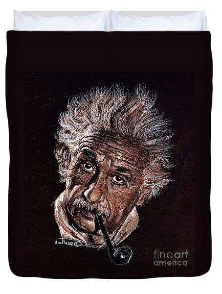 Albert Einstein Portrait Duvet Cover by Daliana Pacuraru