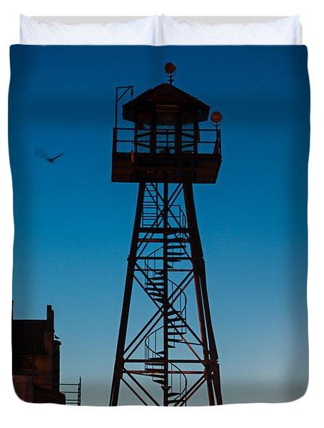 Alcatraz Guard Tower Duvet Cover by Steve Gadomski