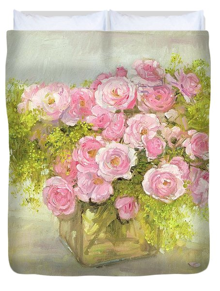 Alchemilla And Roses Duvet Cover by Timothy Easton