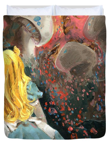 Alice In Mushroom Acres Duvet Cover by Luis  Navarro