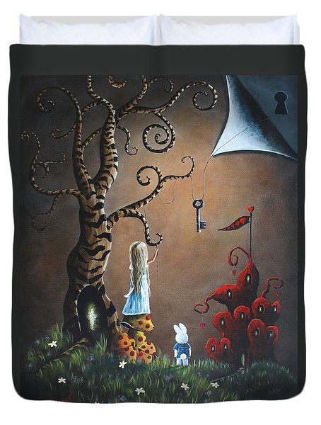 Alice In Wonderland Original Artwork - Key To Wonderland Duvet Cover by Shawna Erback