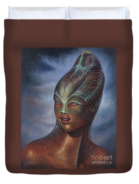 Alien Portrait I Duvet Cover by Ricardo Chavez-Mendez