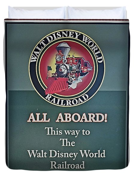All Aboard Sign Duvet Cover by Thomas Woolworth