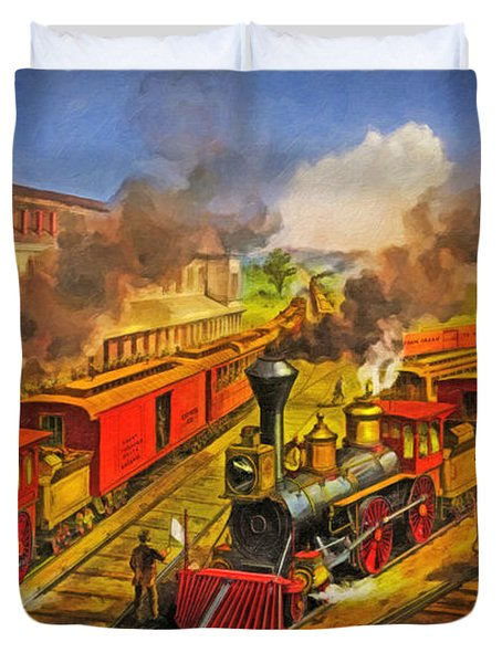 All Aboard The Lightning Express 1874 Duvet Cover by Lianne Schneider