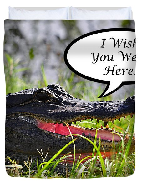 Alligator Greeting Card Duvet Cover by Al Powell Photography USA